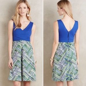 HD In Paris Anthropologie Blue Green A-Line Dress